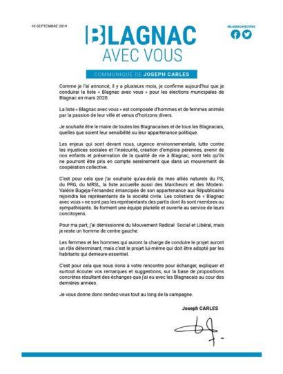 Blagnac avec Vous : Communiqué de presse de Joseph Carles
